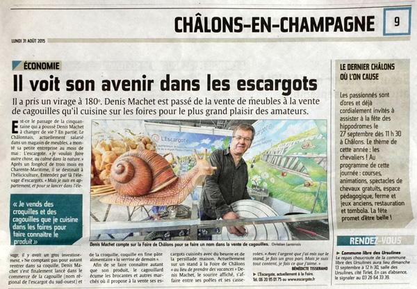 Denis Machet compte sur la Foire de Châlons pour se faire un nom dans la vente de cagouilles